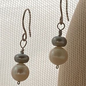 White & Gray Freshwater Pearl Earrings in 925 SS